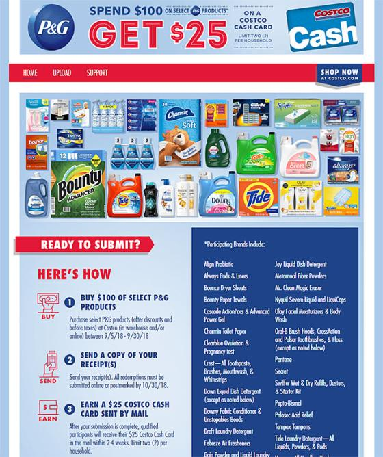 Costco Offers Rebate On P&G Purchases